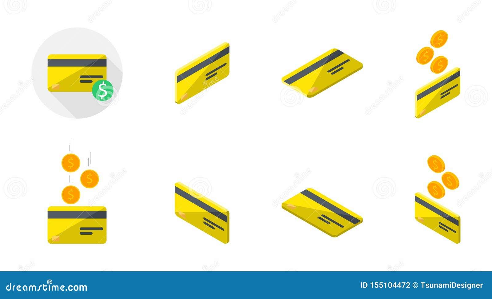 yellow credit card bank card isometric finance