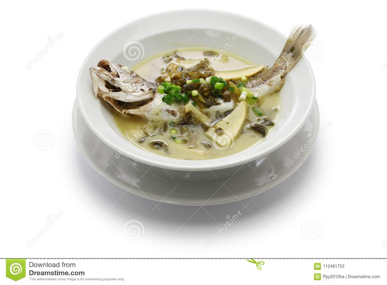 Yellow croaker fish soup with preserved snow vegetable