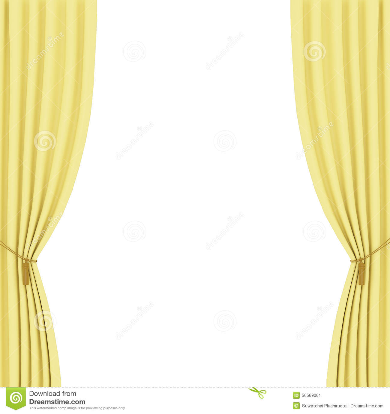 Yellow Curtains Background Stock Illustration