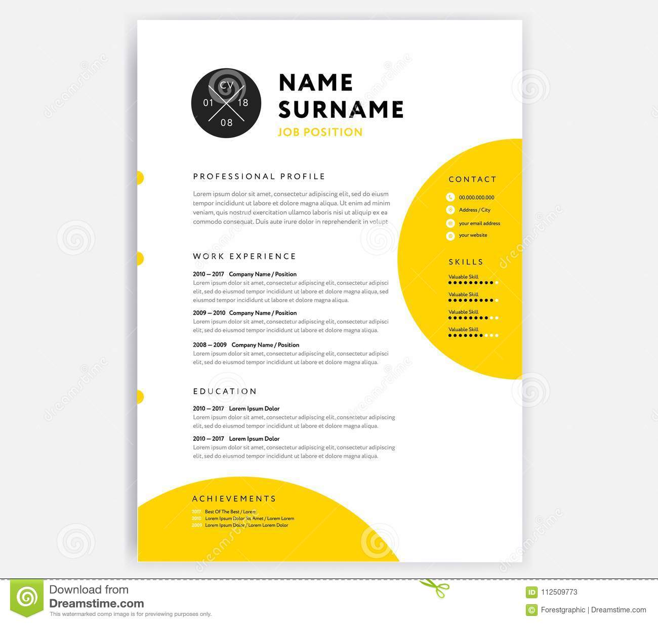 yellow cv resume template