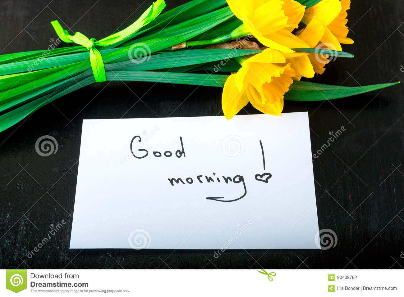 Yellow Daffodil Flowers And Quotes Good Morning On White Rustic