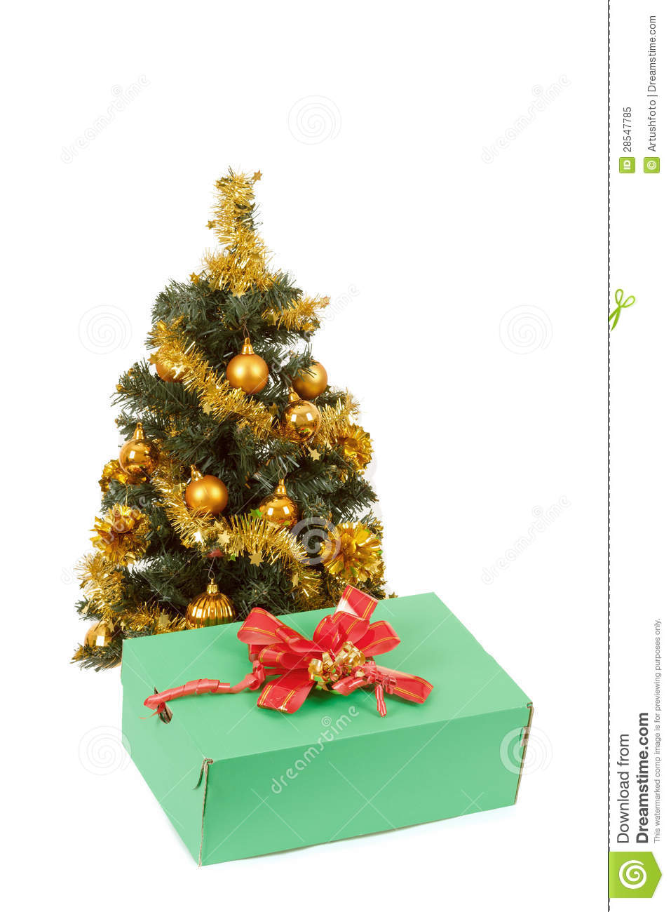 Yellow decorated christmas tree and gift with red ribbon for Red and yellow christmas tree