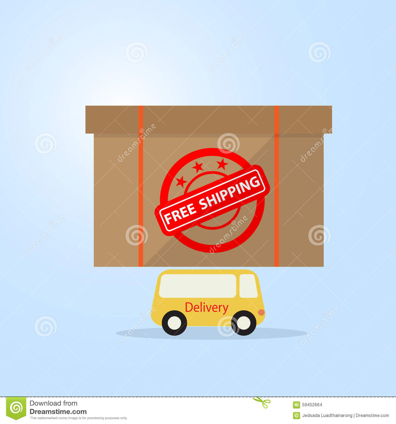 Shipping Delivery: Delivery Van, Free Shipping Stock Image