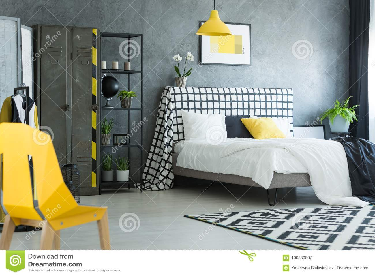 Astonishing Yellow Designer Chair In Bedroom Stock Image Image Of Onthecornerstone Fun Painted Chair Ideas Images Onthecornerstoneorg