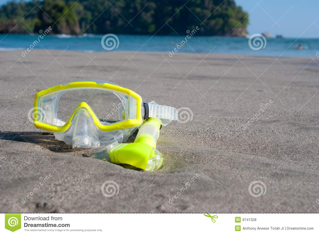 Yellow Dive Mask on Beach