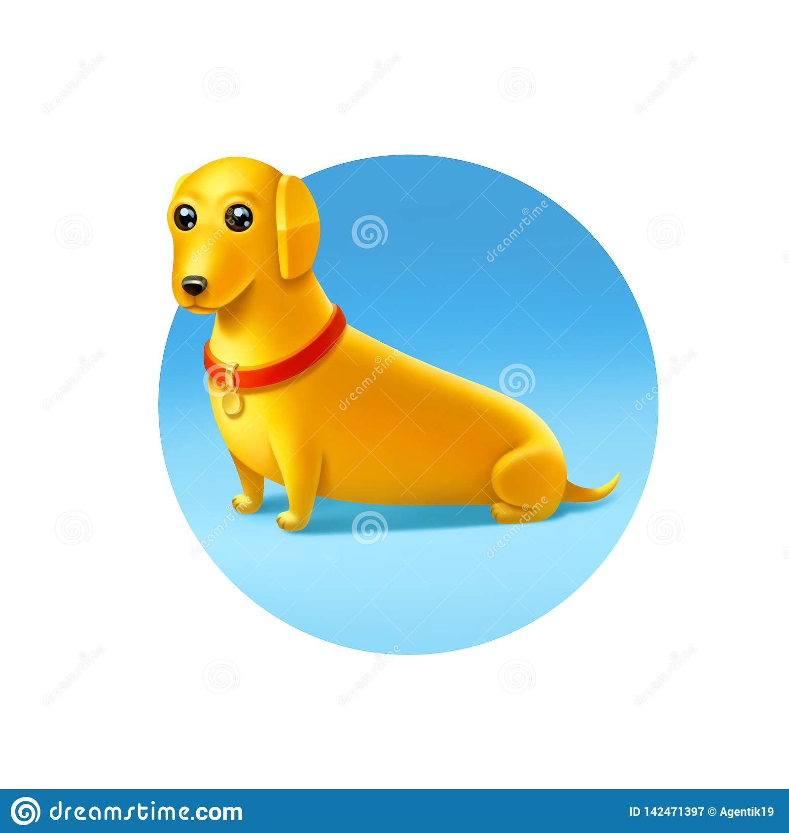 Yellow Dog with a red collar on light blue background