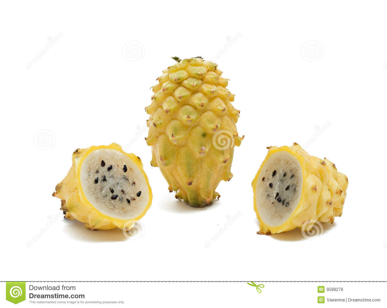 Yellow Dragon Fruit And Its Sections Royalty Free Stock Image - Image ...