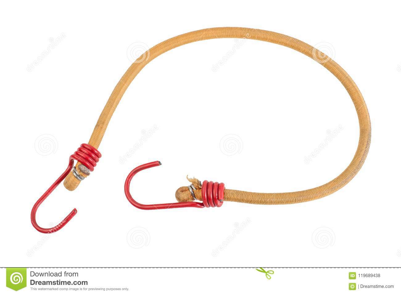 Yellow Elastic strap with a red hooks isolated on white background. Bungee cord, braided nylon stretchy rope