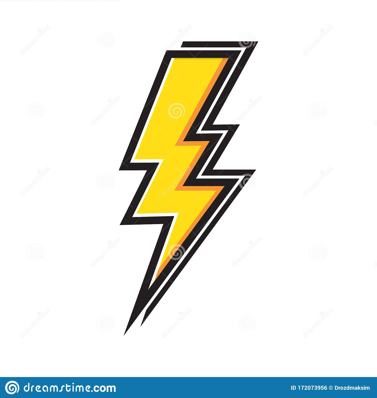 Yellow Electric Lightning Bolt with Shading Effects on White ...
