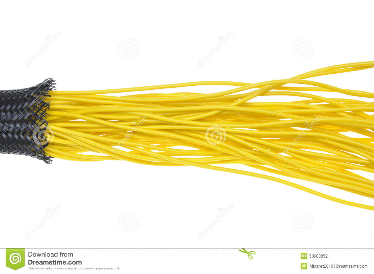 Yellow Electrical Wires In Protection Tube Stock Photo Image Of Wiring