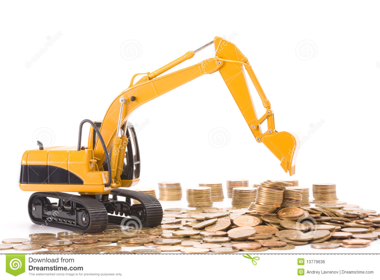 Yellow excavator digging a heap of coins royalty free for How contractors make money