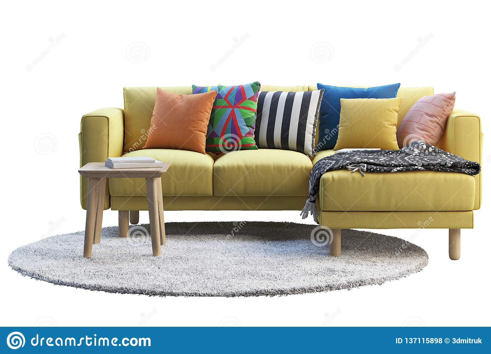 Yellow Fabric Sofa With Gray Rug And Wooden Coffee Table 3d