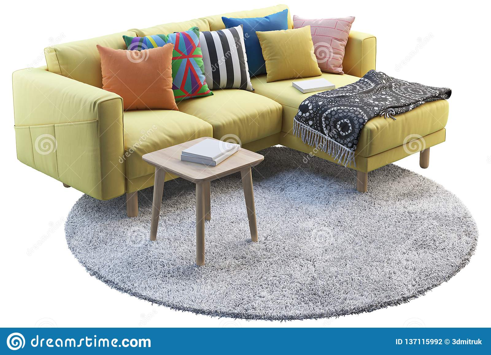 Remarkable Yellow Fabric Sofa With Gray Rug And Wooden Coffee Table 3D Inzonedesignstudio Interior Chair Design Inzonedesignstudiocom