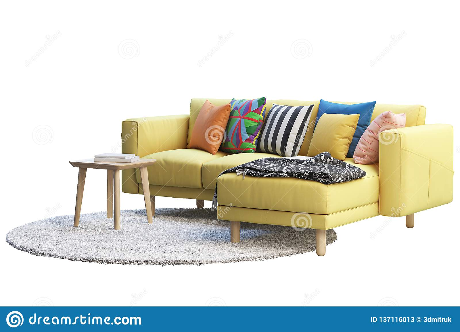 Yellow Fabric Sofa With Gray Rug And Wooden Coffee Table 3d Render