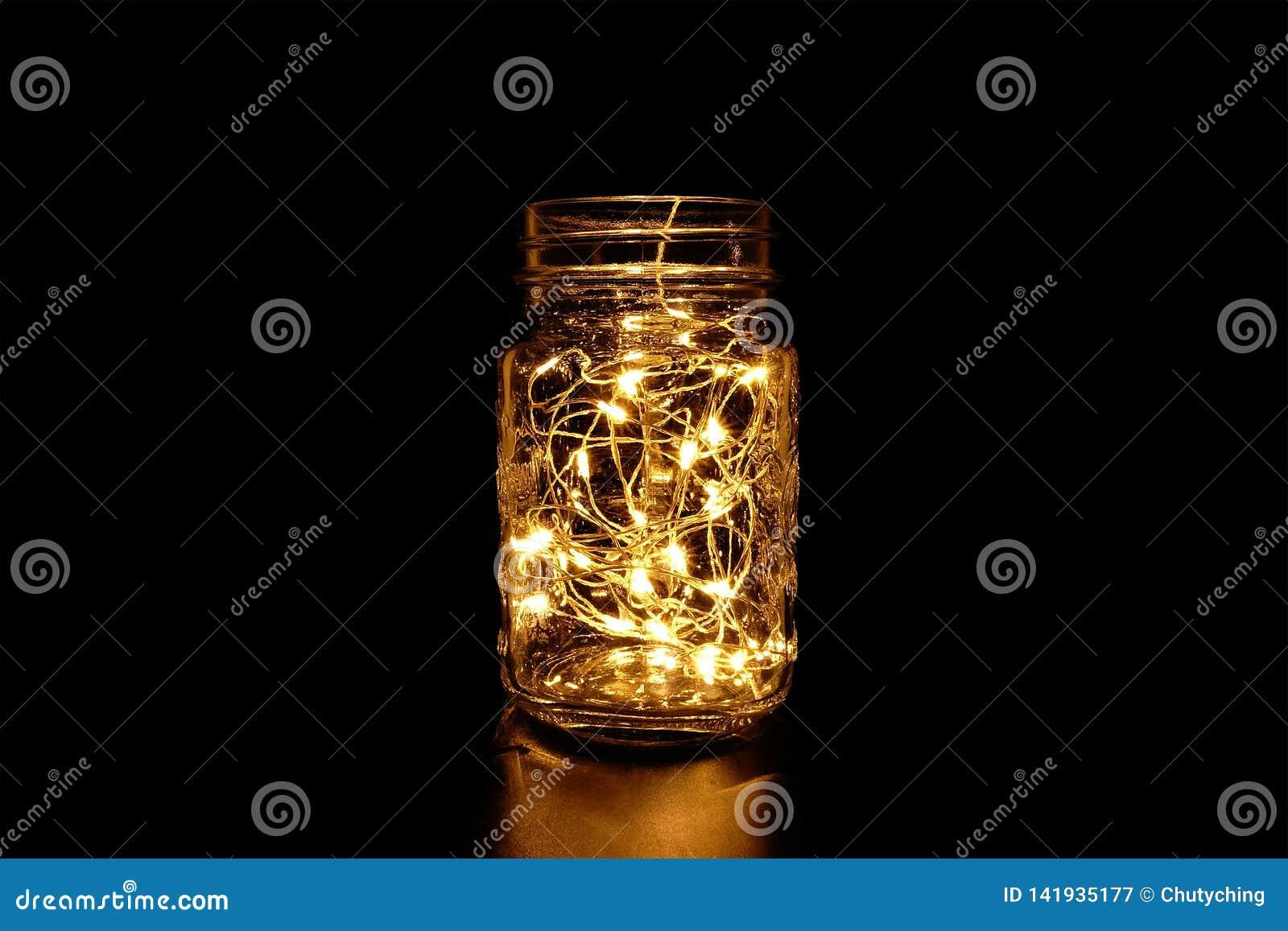 Yellow Fairy Light in Mason Jar.