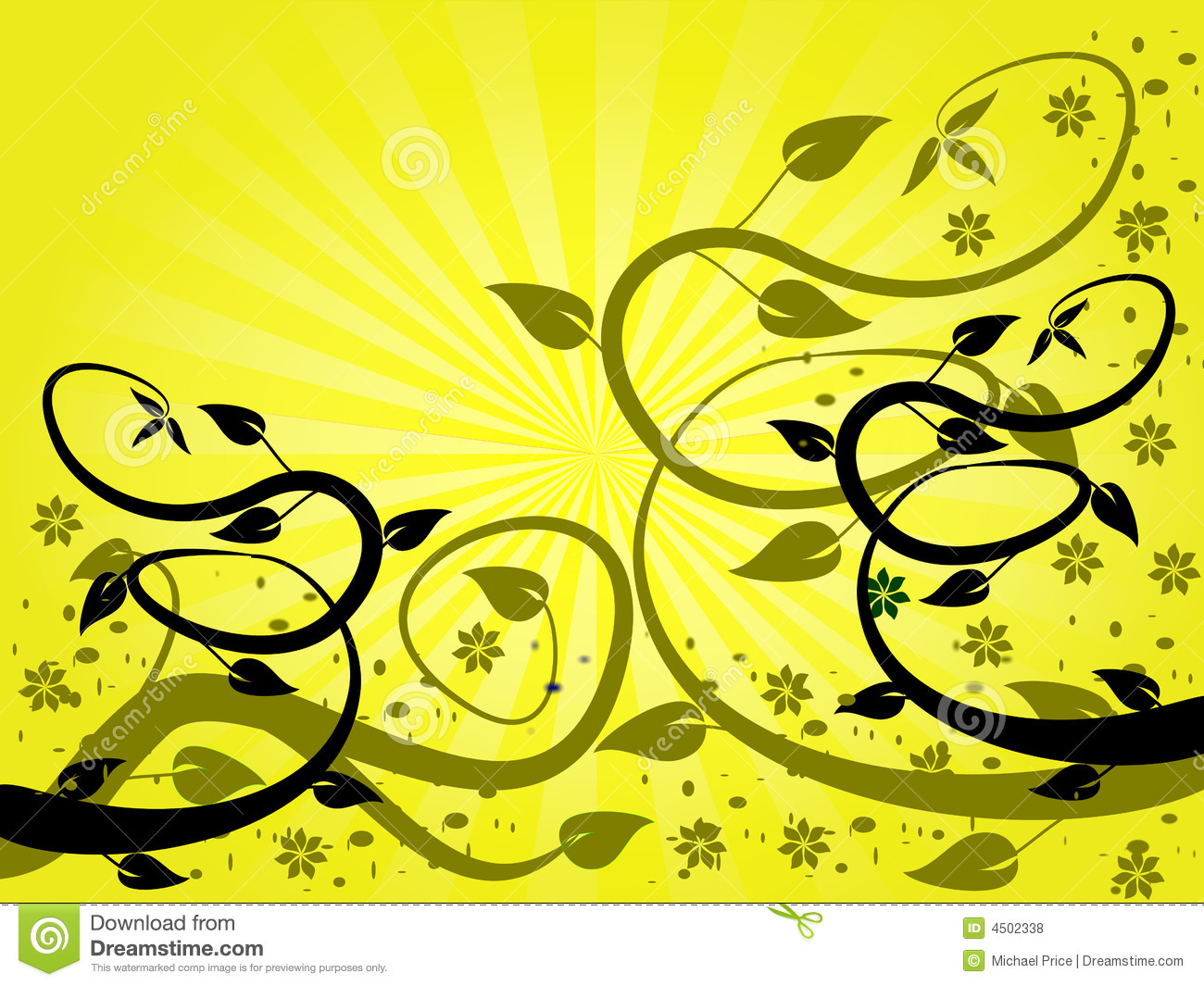 Yellow Fan Floral Background Stock Vector Illustration Of Gold  -> Floral Fundo Preto