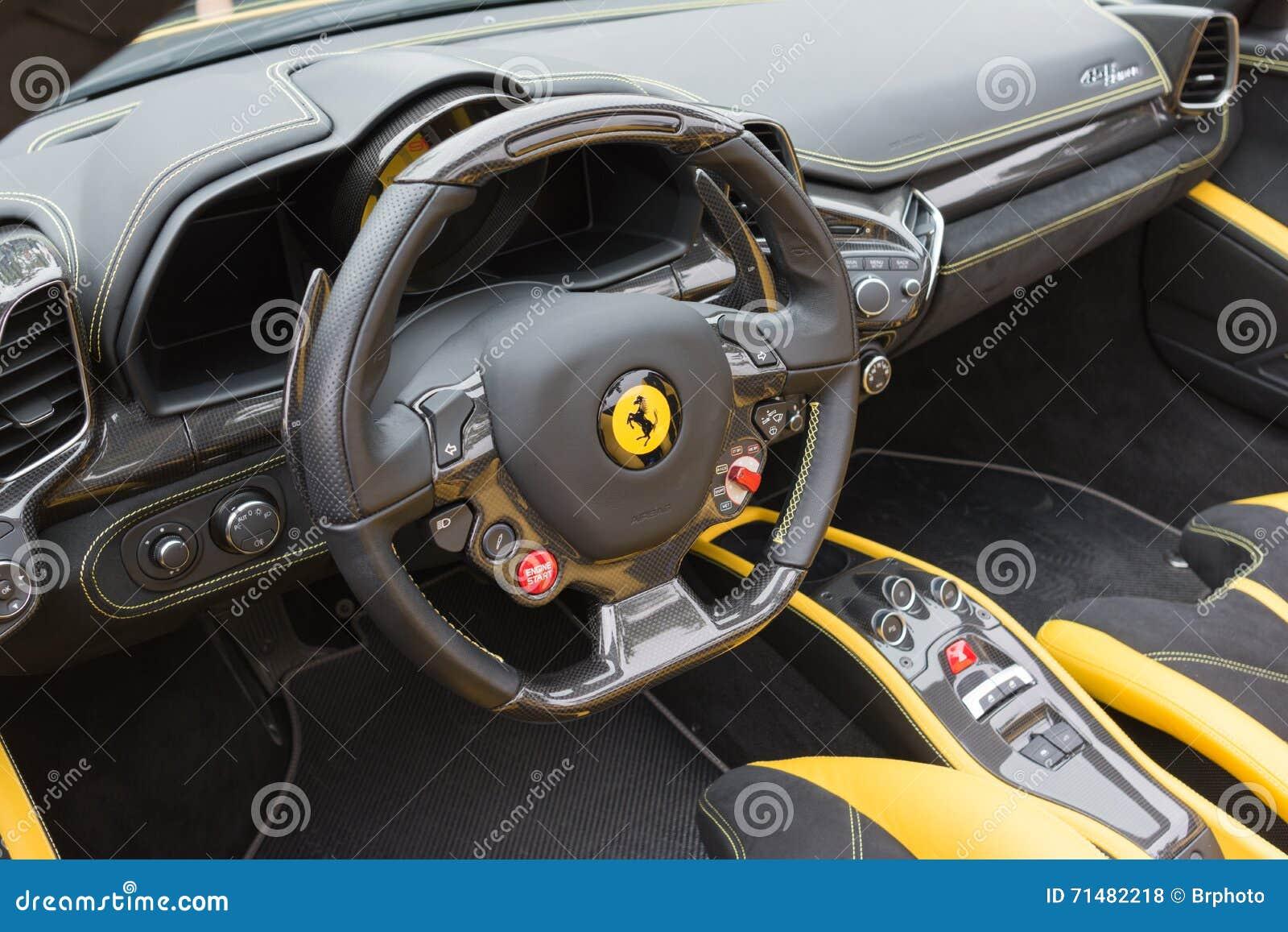Yellow Ferrari Interior Editorial Stock Photo Image Of Speed - Pasadena car show