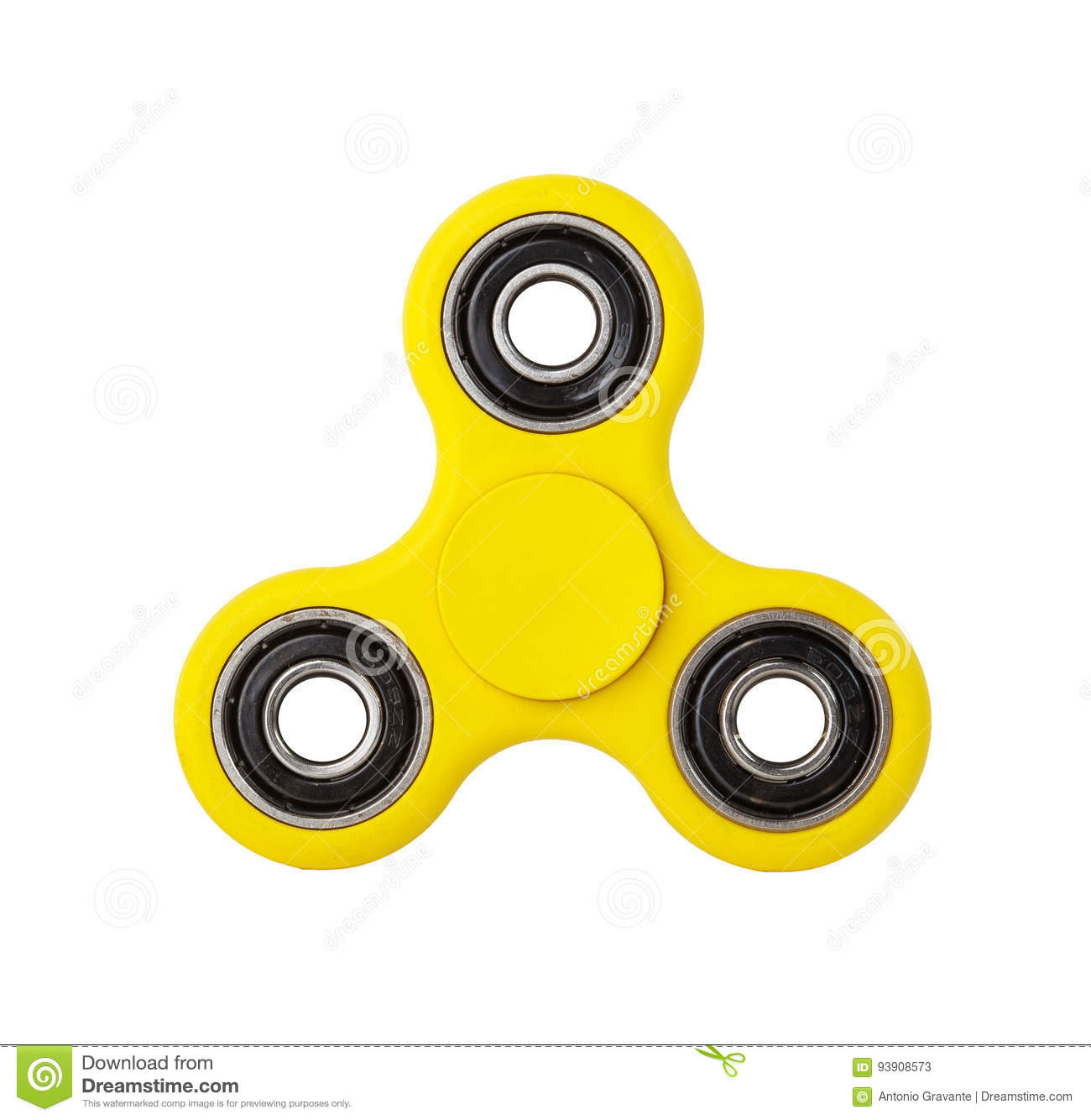 Yellow Fidget Spinner on white background