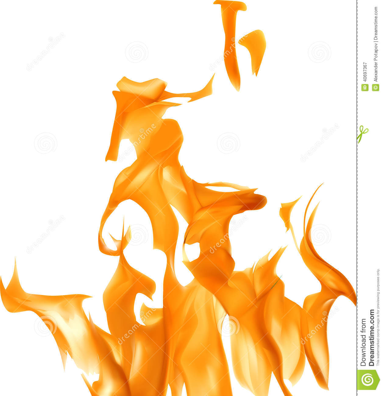 yellow flame on white background illustration stock vector