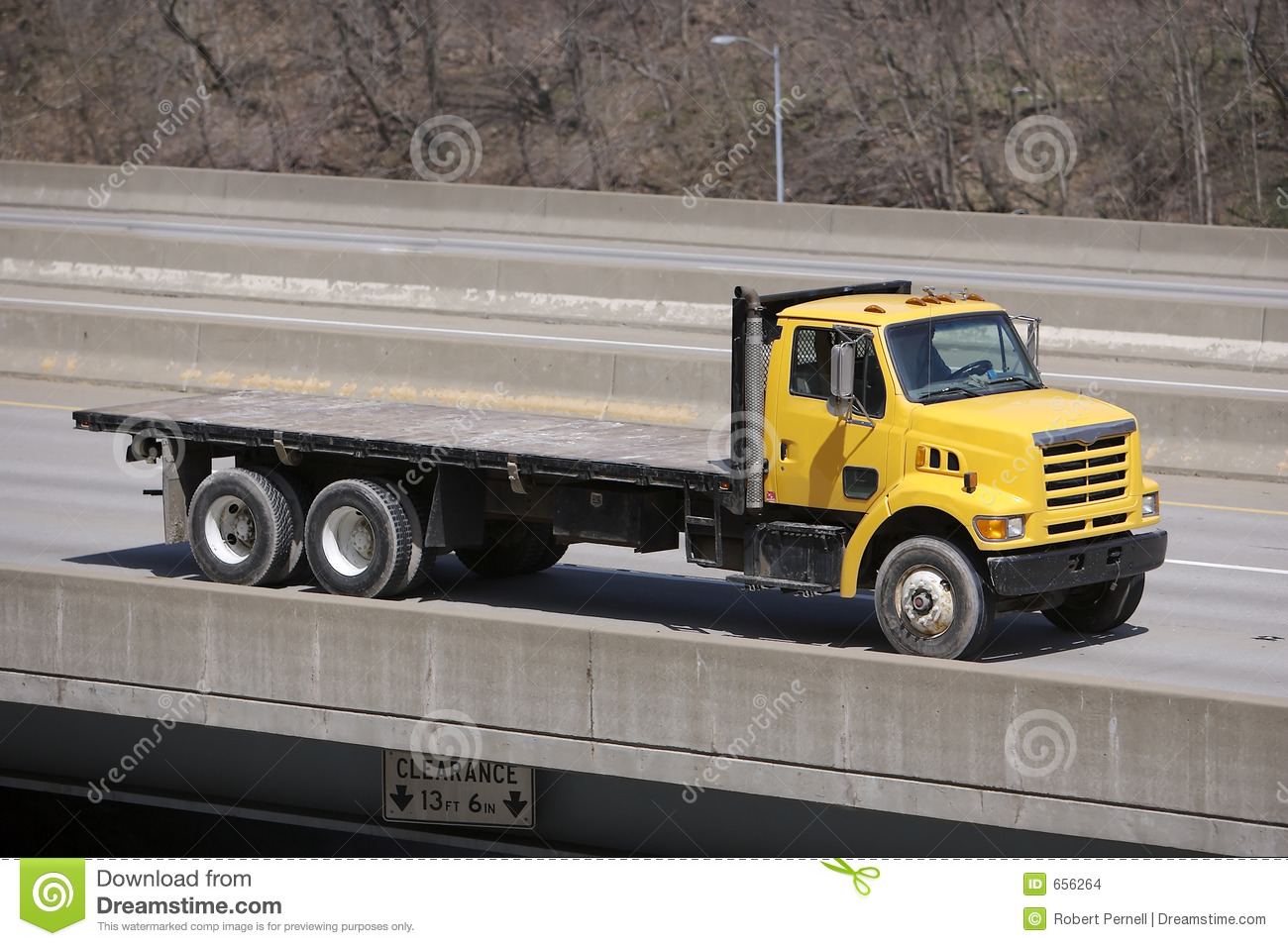Yellow Flat Bed Truck Stock Photo Image Of Cargo Carry 656264