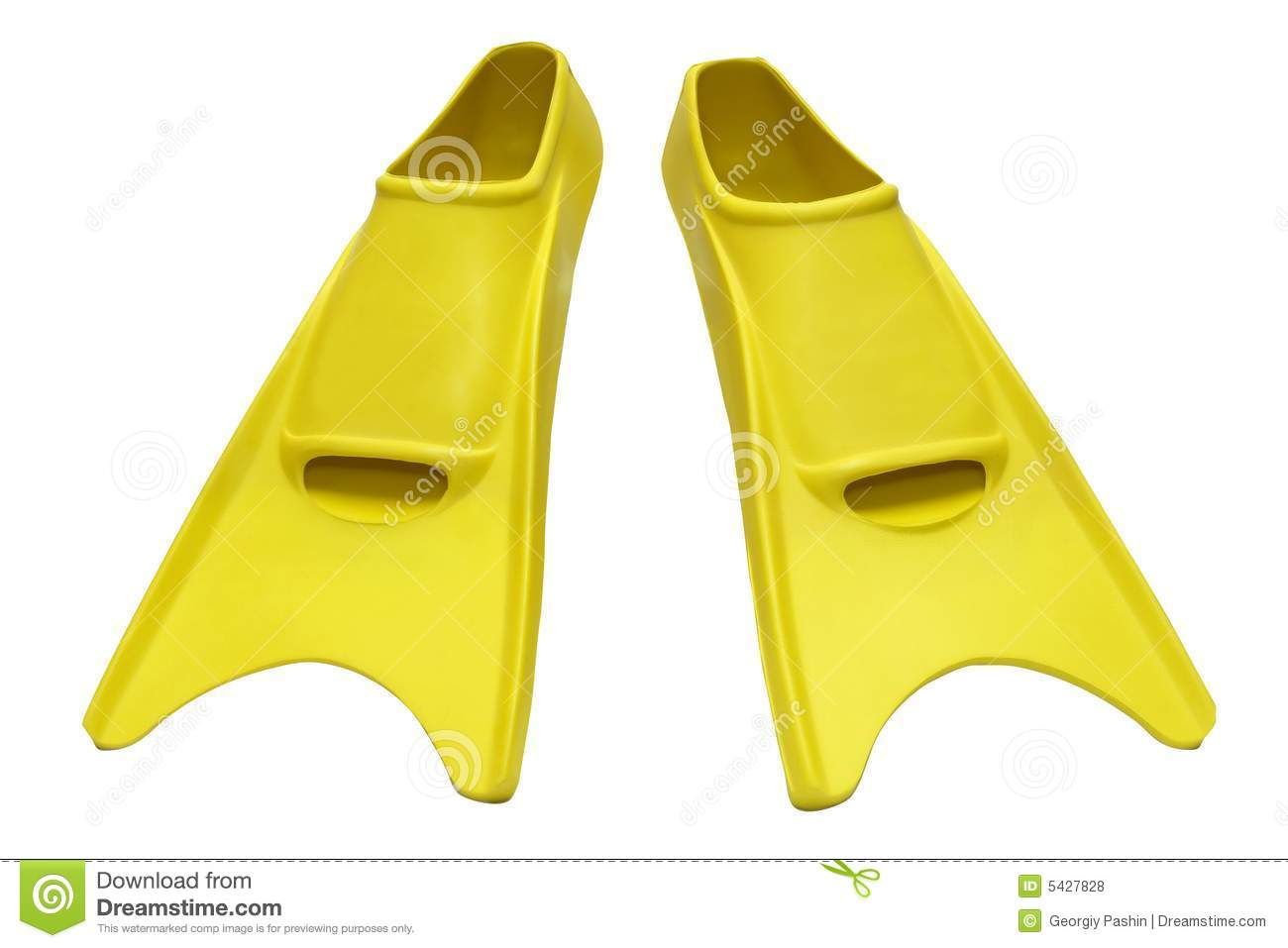 Yellow flippers on white