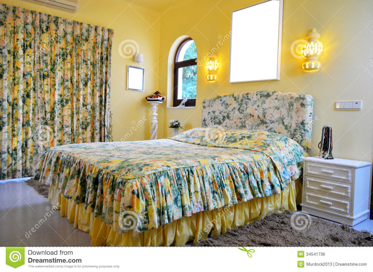 Yellow floral bedroom stock photo image of home relax for Bedroom curtains designs in pakistan