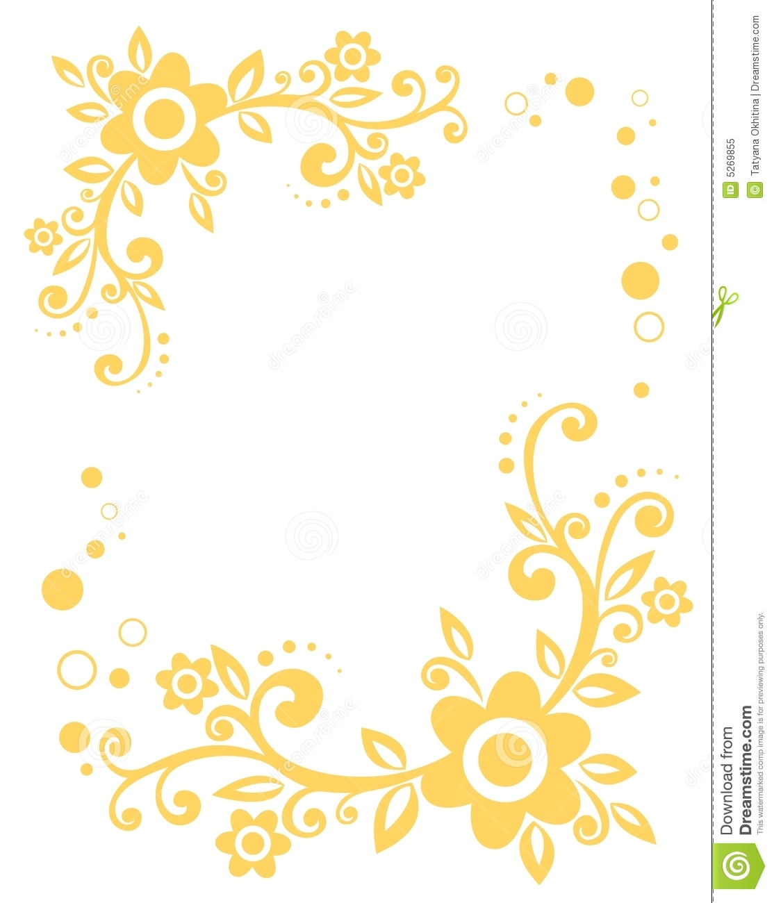 Yellow Floral Border Stock Vector Illustration Of Drawing 5269855