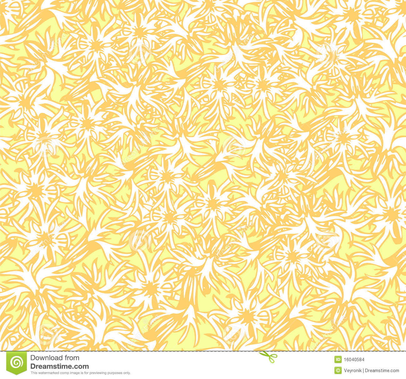 Yellow Floral Wallpaper Stock Illustration Illustration Of