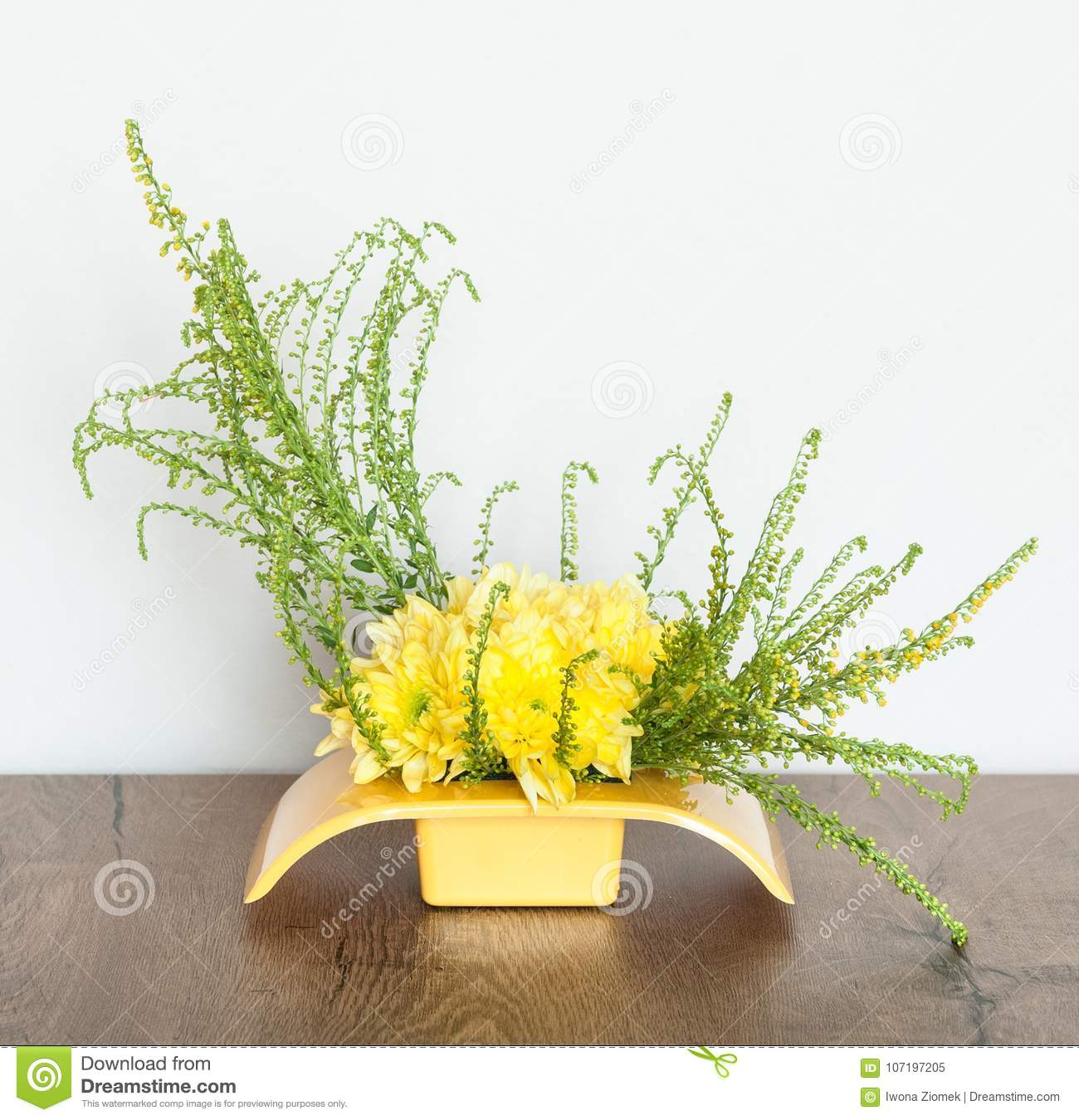 Yellow Flower Arrangement Centerpiece Stock Image Image Of