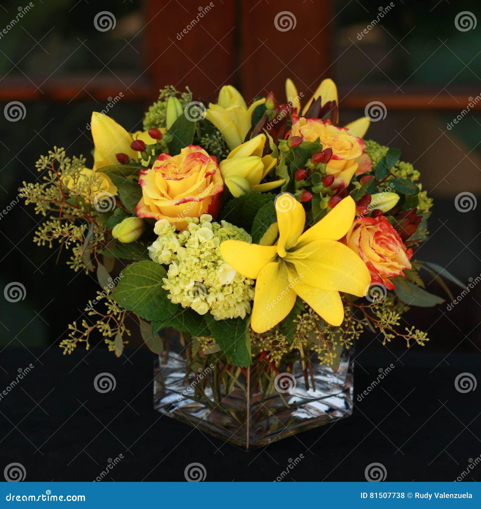 Yellow Flower Arrangement Stock Photo Image Of Square 81507738