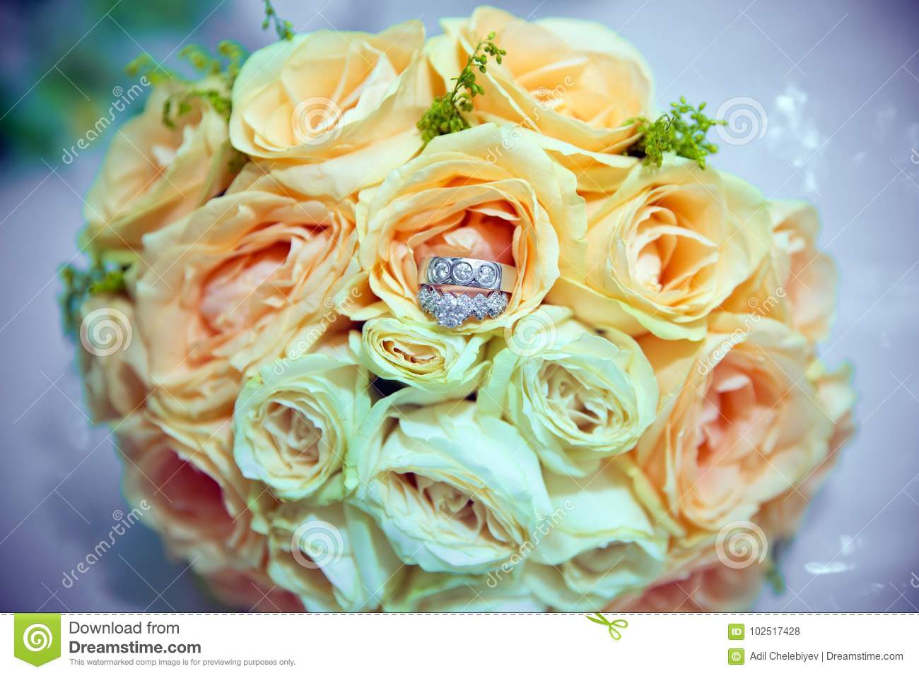 Yellow Flower Bouquet And Rings For Wedding Yellow Bouquet Of