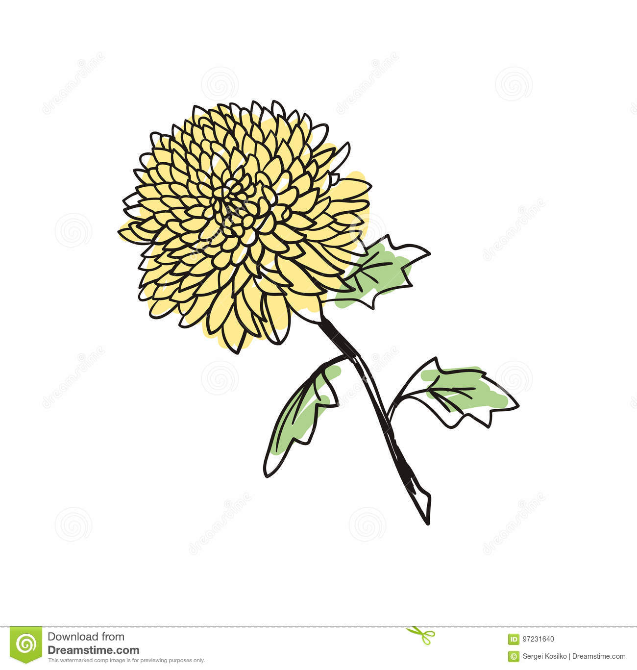 Yellow Flower Hand Drawn Icon Stock Vector Illustration Of