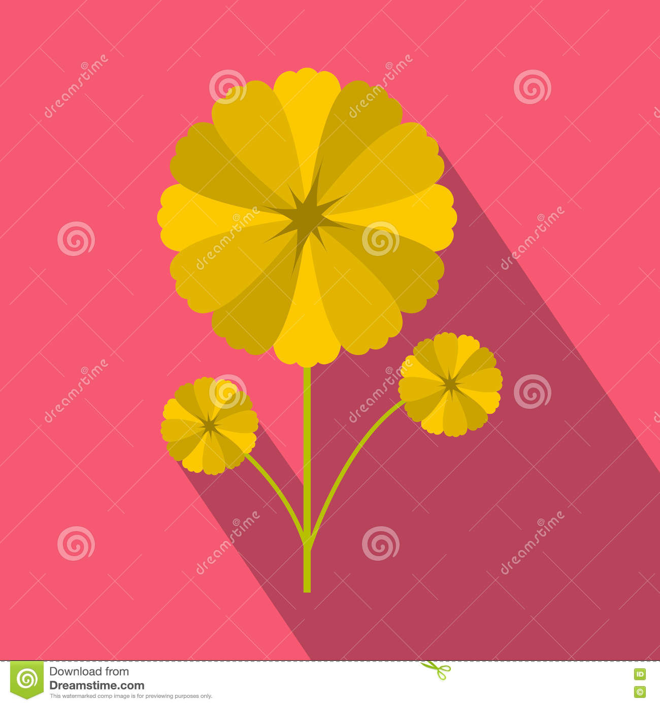 Yellow Flower Icon In Flat Style Stock Vector Illustration Of