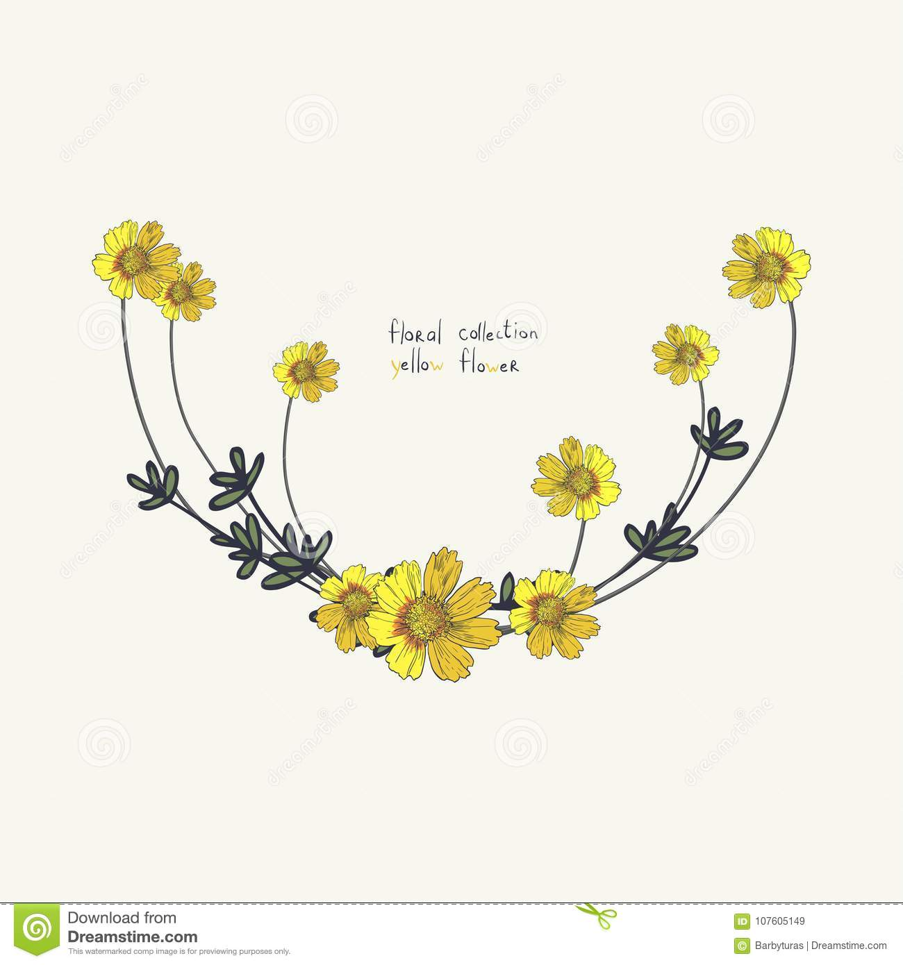 Yellow Flower Wreath Isolated On White. Floral Frame For Wedding ...