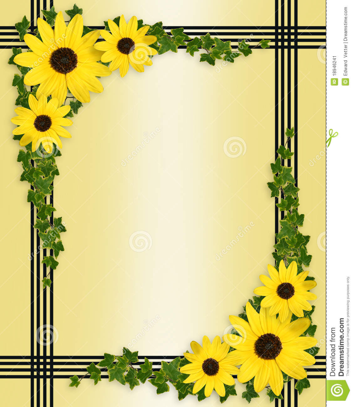 Yellow Flowers Border Stock Image Image 18946241
