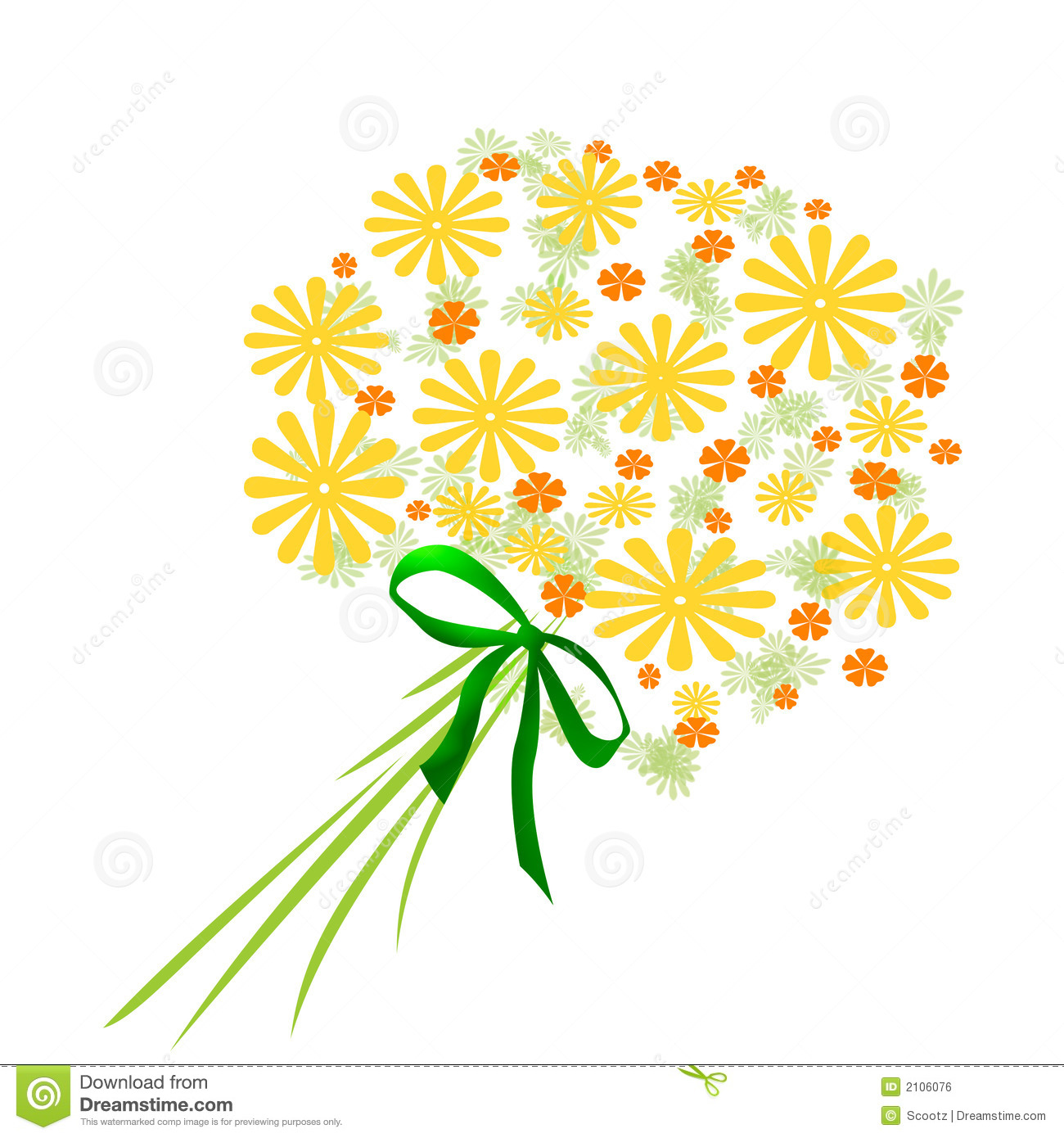 Yellow Flowers Bouquet Stock Illustration Illustration Of