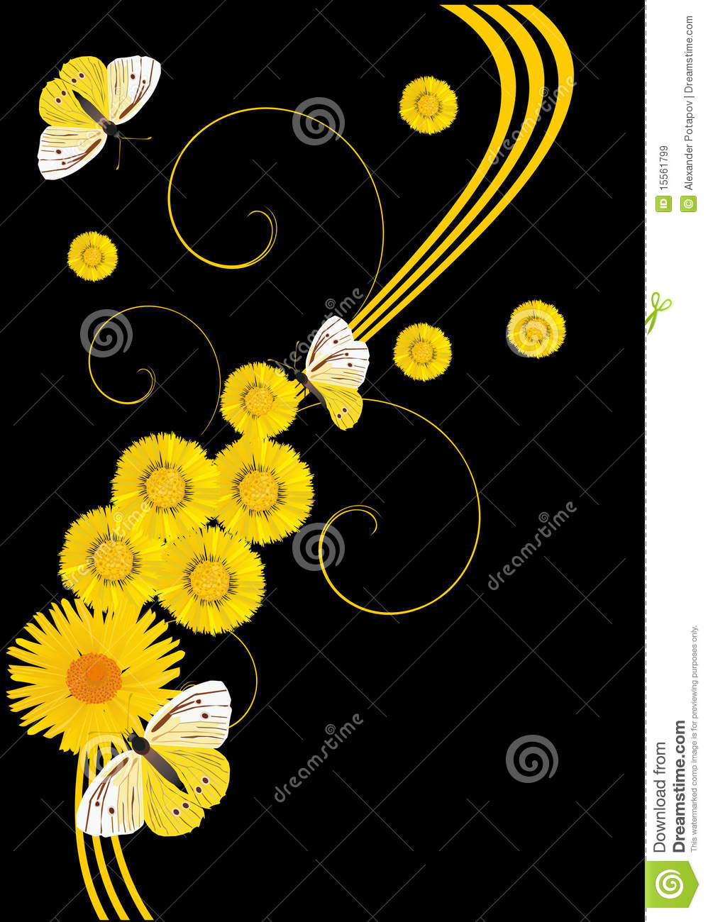 Yellow Flowers And Butterflies On Black Royalty Free Stock ... Yellow Black Flowers Wallpaper