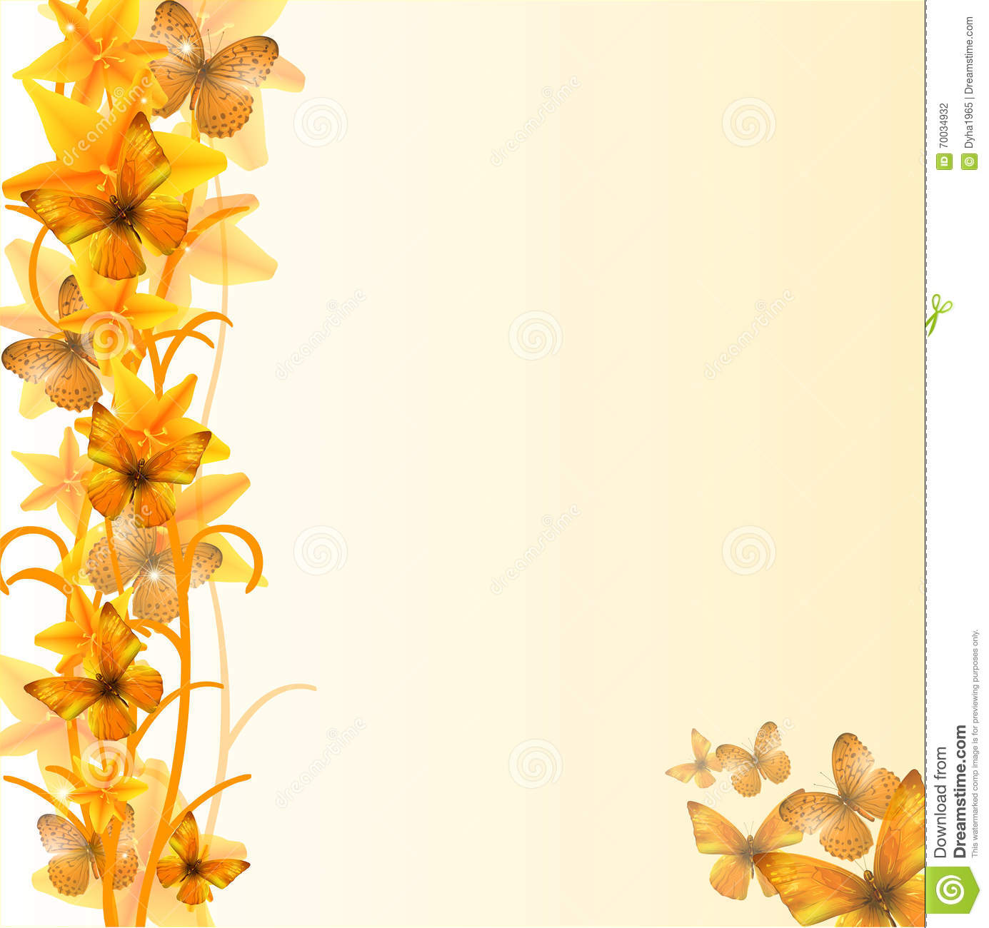 Yellow Flowers And Butterfly 02 Stock Vector