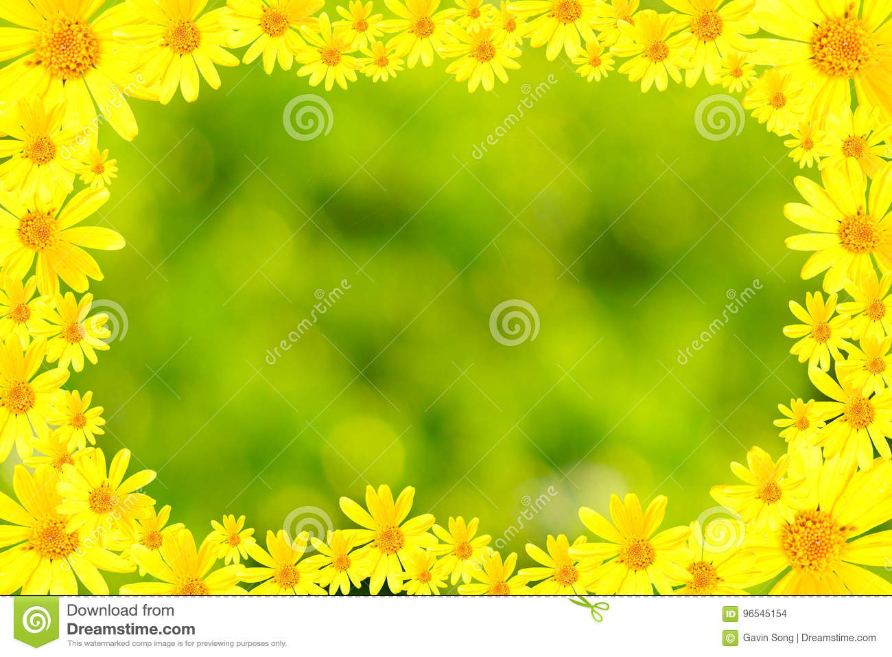 Yellow flowers and green background frame stock illustration yellow flowers and green background frame mightylinksfo