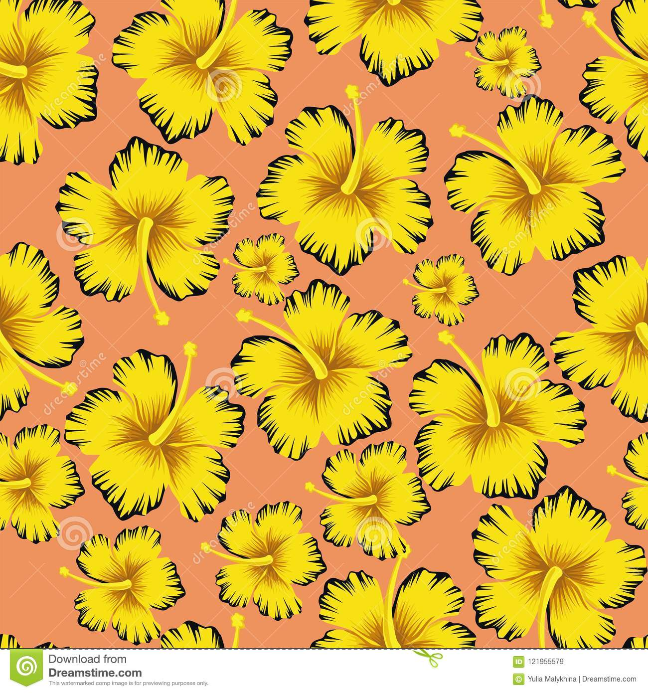 Yellow Flowers Hibiscus Seamless Pink Background Stock Vector