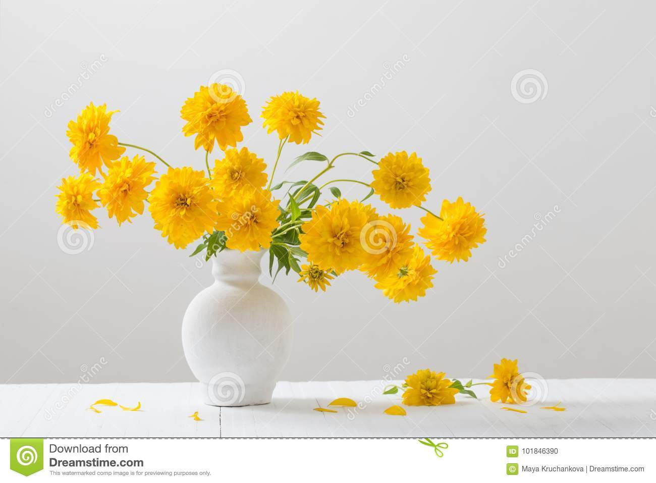 Yellow flowers in vase on white background stock photo image of yellow flowers in vase on white background mightylinksfo