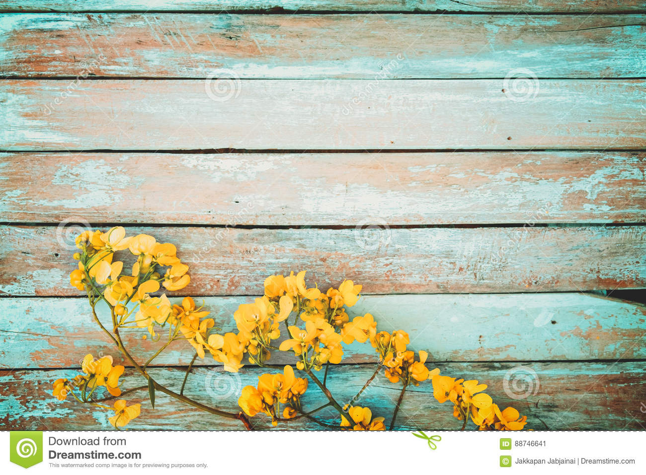 Yellow Flowers On Vintage Wooden Background Stock Image Image Of