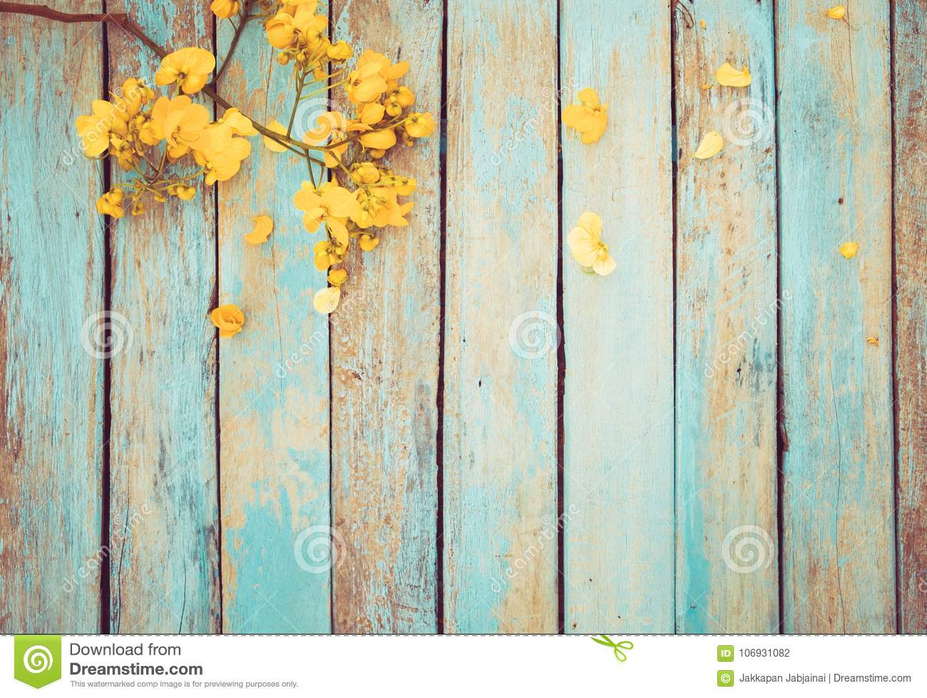 Yellow Flowers On Vintage Wooden Background, Stock Photo
