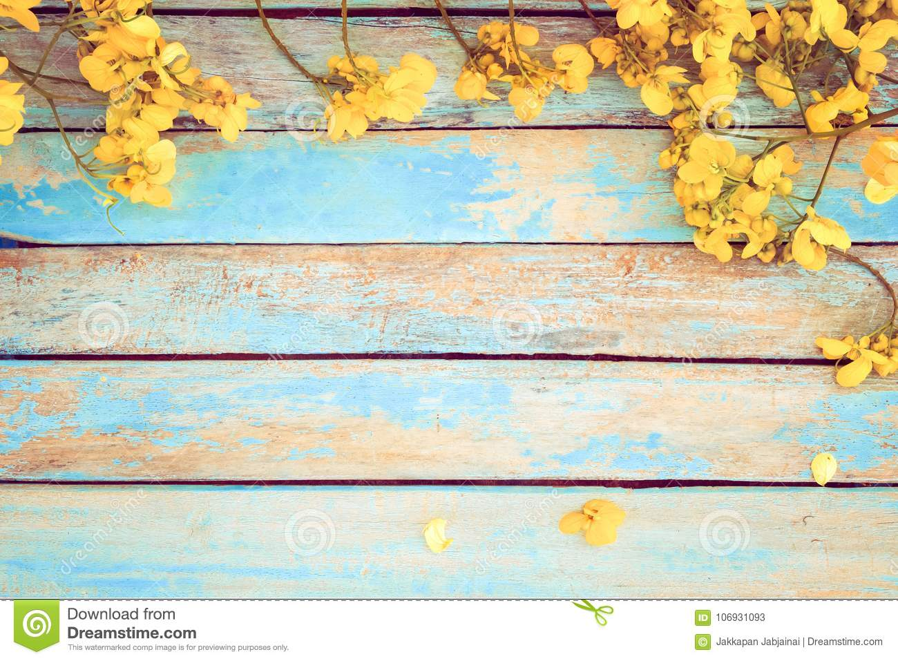 Yellow Flowers On Vintage Wooden Background Stock Image
