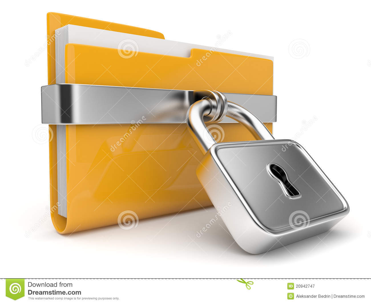 Yellow Folder And Lock. Data Security Concept. 3D Royalty ...