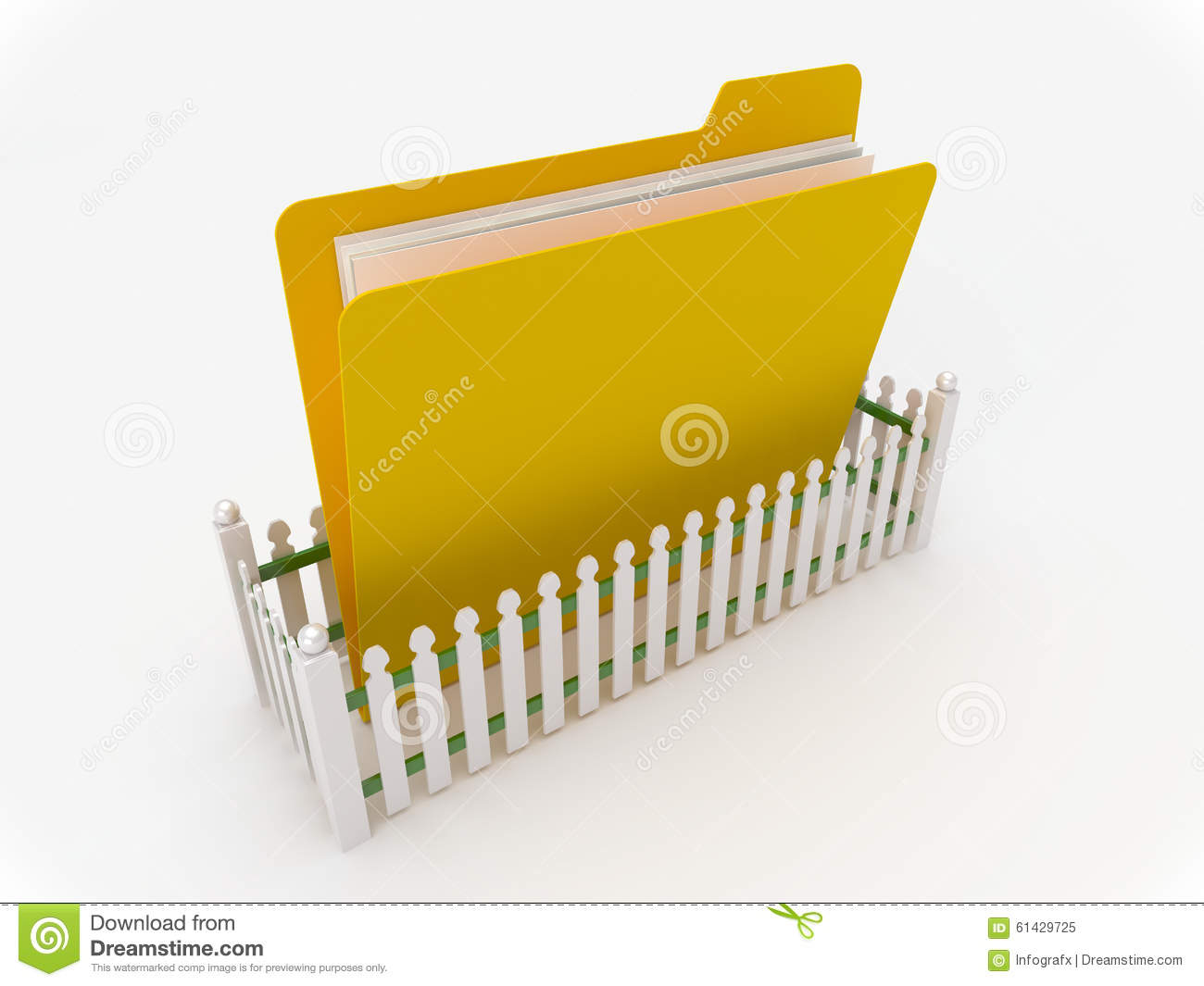 Yellow folder surrounded by a fence stock illustration
