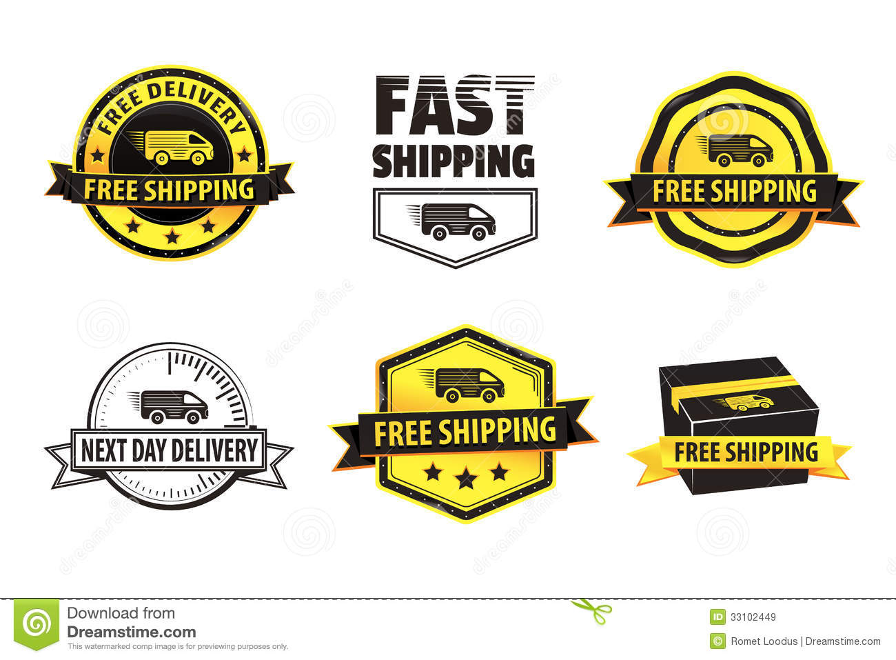 yellow free shipping badges stock vector illustration 33102449. Black Bedroom Furniture Sets. Home Design Ideas