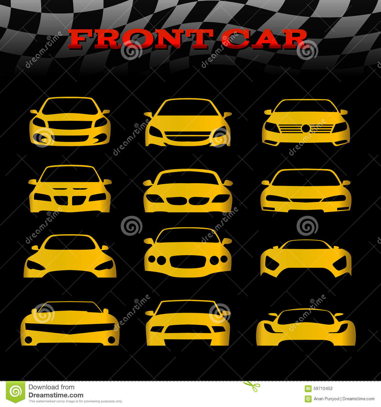 Design car flags - Yellow Front Body Car And Checkered Flags Vector Set Design