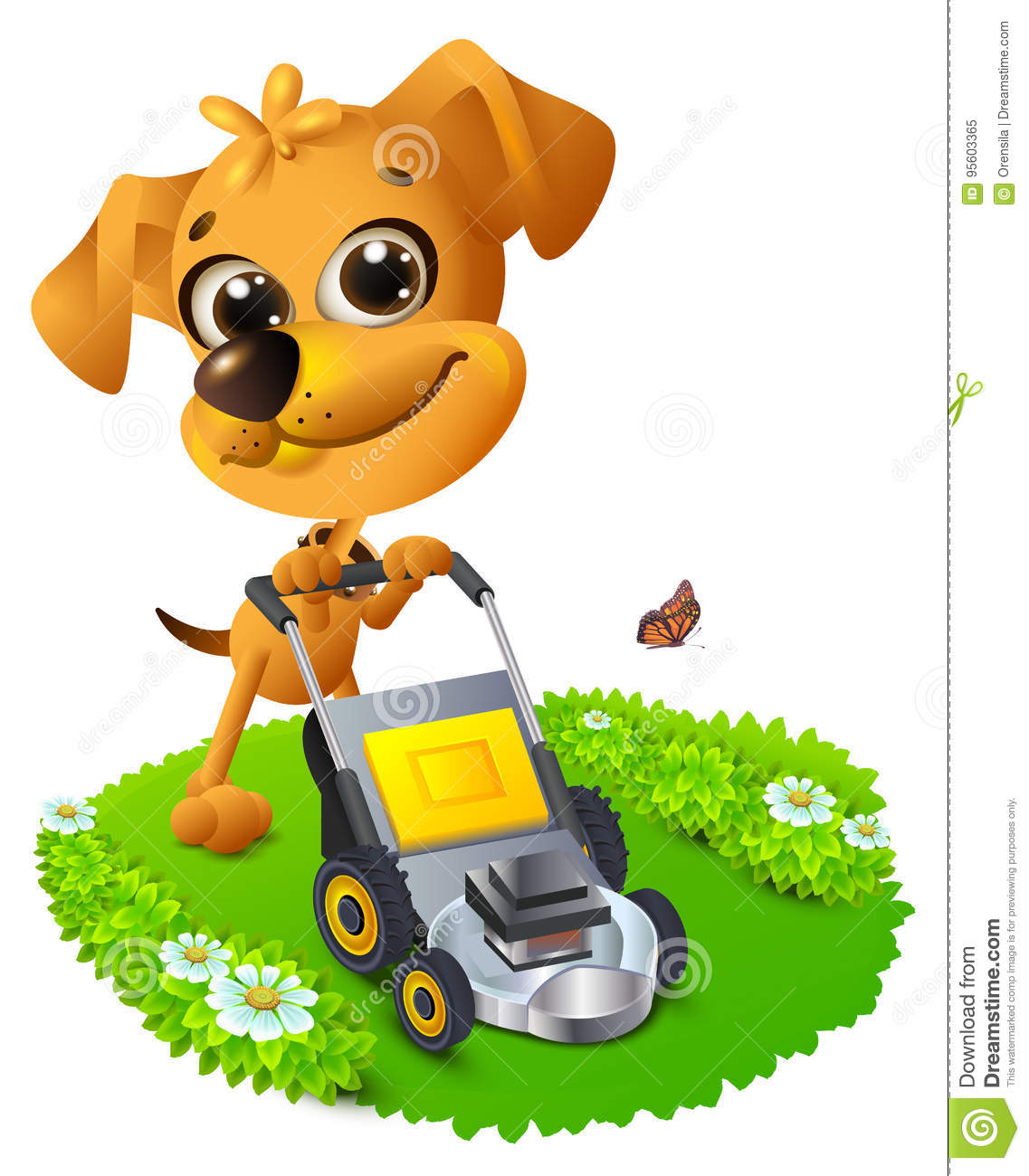 yellow fun dog mowing lawn stock vector  illustration of worker