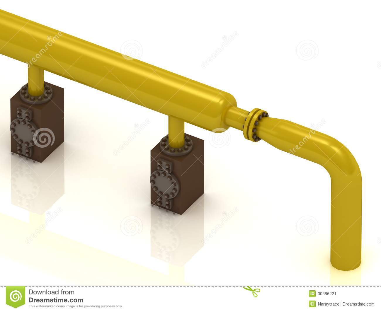 Yellow gas pipe to the concrete supports stock image